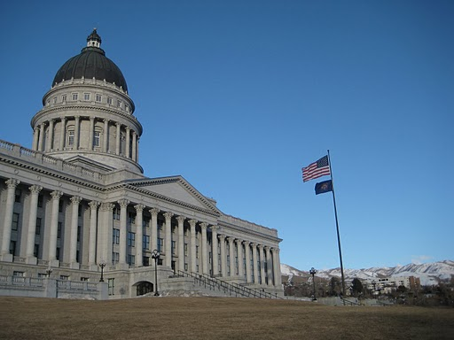Utah Capitol, with flags